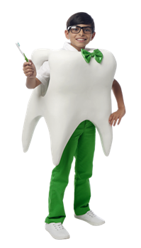 Boy in tooth outfit holding brush