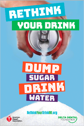 Rethink Your Drink dump sugar poster